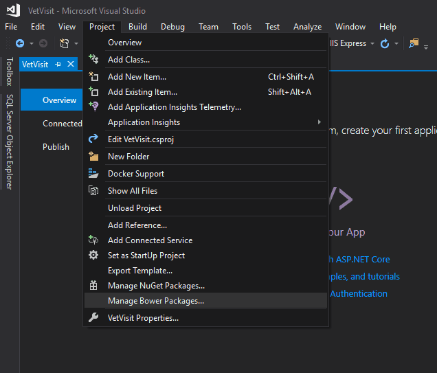 asp.net core manage bower packages menu item