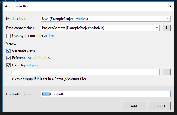 choosing options for the user controller in the ASP.NET project
